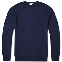 Sunspel Merino Crew Knit Jumper Navy