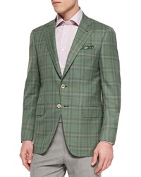 Isaia Plaid Jacket With Contrast Deco Green Lavender