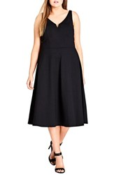 City Chic Plus Size Women's Cute Girl Fit And Flare Midi Dress Black