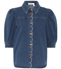 See By Chloe Embroidered Denim Blouse Blue