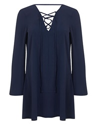 Miss Selfridge Lace Up Tunic Navy Blue