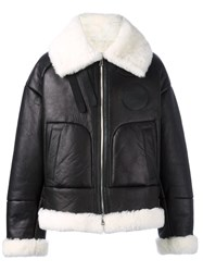 Juun.J Shearling Bomber Jacket Black