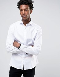 Noose And Monkey Skinny Smart Shirt With Collar Detail White