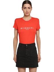 Givenchy Logo Print Cotton Jersey T Shirt Red