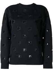 Paco Rabanne Embroidered Cut Out Sweatshirt Black