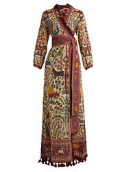 Rhode Resort Jagger Wrap Front Cotton Maxi Dress Brown Multi