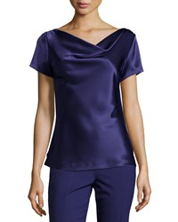 Petite Liquid Satin Cowl Neck Shell Viola St. John Collection