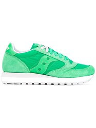 Saucony Lace Up Sneakers Women Cotton Suede Nylon Rubber 38.5 Green