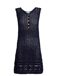 Melissa Odabash Cheyenne Sleeveless Crochet Cotton Dress Navy