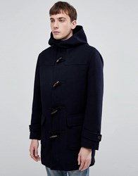 Selected Homme Recycled Wool Duffle Coat With Teddy Lining Dark Sapphire Navy