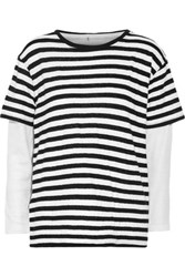 R 13 R13 Layered Striped Cotton And Cashmere Blend Jersey And Waffle Knit Top White