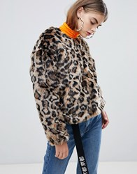 Bershka Faux Fur Leopard Jacket In Multi