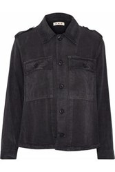Amo Ruffled Brushed Twill Jacket Charcoal