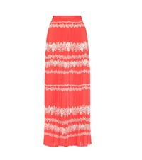 Self Portrait Flower Spell Printed Maxi Skirt Red