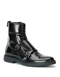 Calvin Klein Davis Faux Leather Monkstrap Ankle Boots Black