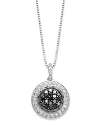 Macy's Sterling Silver Necklace Black And White Diamond Circle Pendant 1 2 Ct. T.W.