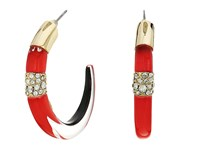 Alexis Bittar Crystal Encrusted Minimalist Hoop Earrings Fire Opal Earring Red