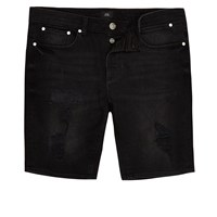 River Island Big And Tall Black Wash Skinny Denim Shorts