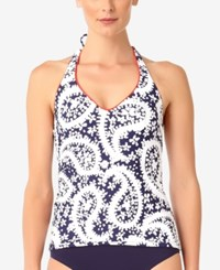 Anne Cole Paisley Print Halter Tankini Top Women's Swimsuit Navy
