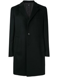 Hugo Boss Long Sleeved Overcoat Black
