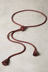 Anthropologie Braided Fringe Belt Wine