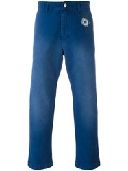 Gucci Straight Cropped Trousers Blue