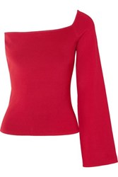 Solace London The Renata One Shoulder Stretch Knit Top Red