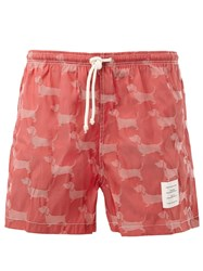 Thom Browne Dachshund Patterned Swimming Trunks Red