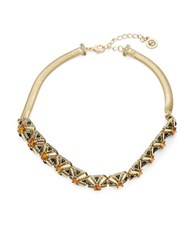 House Of Harlow Art Deco Statement Necklace Orange