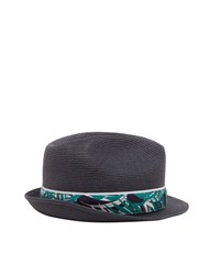 Ted Baker Happyg Printed Trilby Hat Blue