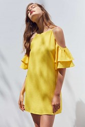 Cooperative Ruffle Cold Shoulder Linen Dress Yellow