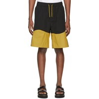 Pyer Moss Black And Yellow Wave Track Shorts