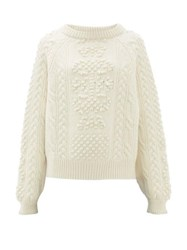 Barrie Cable Knit Cashmere And Lambswool Sweater Ivory