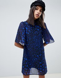 Na Kd Leopard Print Dress In Cobalt Blue