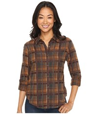 Pendleton Petite Zena Shirt Plaid Shirting Women's T Shirt Brown