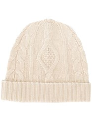Pringle Of Scotland Cable Knit Beanie White