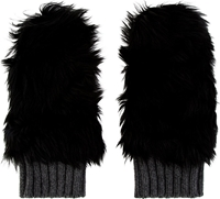 Marni Black Shearling Fur And Cashmere Mittens