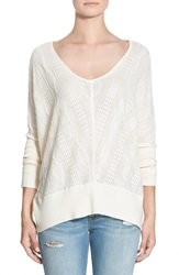Paper Crane Cable Knit High Low V Neck Sweater Ivory