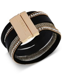 Guess Gold Tone Crystal Faux Leather Magnetic Cuff Bracelet Black