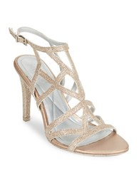 Kenneth Cole Reaction Glittered Stiletto Dress Sandals Rose Gold