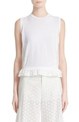 Women's Red Valentino Sangallo Lace Back Sleeveless Knit Top White