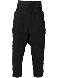 Attachment Drop Crotch Cropped Trousers Black