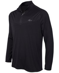 Greg Norman For Tasso Elba Men's Big And Tall Embossed Quarter Zip Sweater Only At Macy's Deep Black