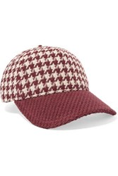 Rag And Bone Marilyn Leather Trimmed Houndstooth Cotton Tweed Baseball Cap Red
