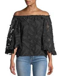 Alberto Makali Off The Shoulder Clipped Embroidered Blouse Black