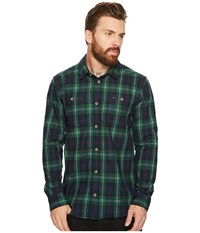 Rvca Bone Flannel Long Sleeve Shirt Federal Blue Long Sleeve Button Up