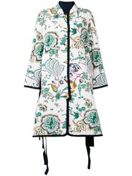 Tory Burch Quilted Floral Print Coat White