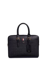 Thom Browne Pebbled Leather Business Briefcase Black