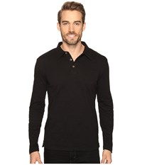 Mod O Doc Long Sleeve Slub Jersey Polo Black Men's Long Sleeve Pullover