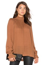 Blaque Label Ruched Funnel Neck Top Brown